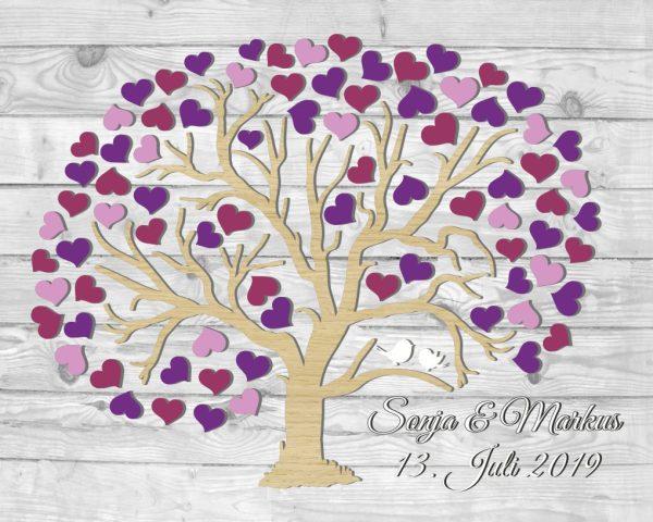 Personalisiertes Hochzeitsgästebuch auf Leinwand in 3D-Optik mit Herzbaum rund