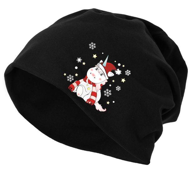 Jersey Beanie Mütze Wintermütze Christmas Weihnachten Unicorn Einhorn cutie xmas