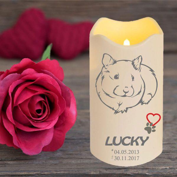 LED Kerze Trauerkerze aus Kunststoff für Tiere Meerschwein