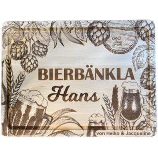 Bierkastensitz Bierbänkla Bierbank mit Hopfenblüten rustikal Holzbrett mit Name