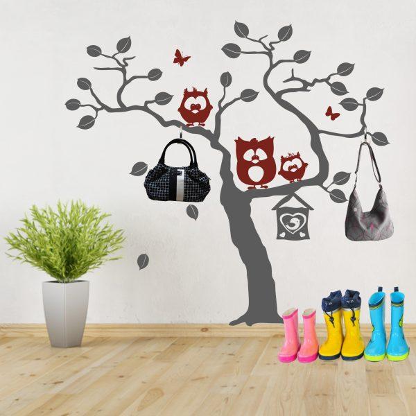 Wandtattoo Baum mit Eulentrio Paul-Emil & Lotte