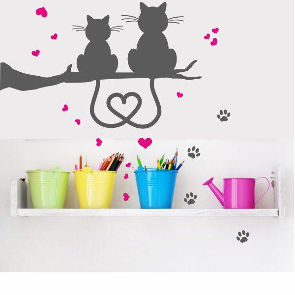Wandtattoo Katzenpaar