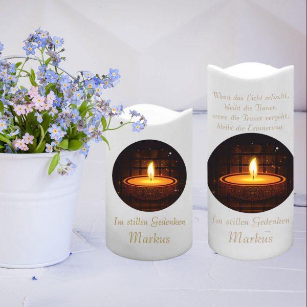 LED Kunststoff Kerze Weiß Trauerkerze Kerze