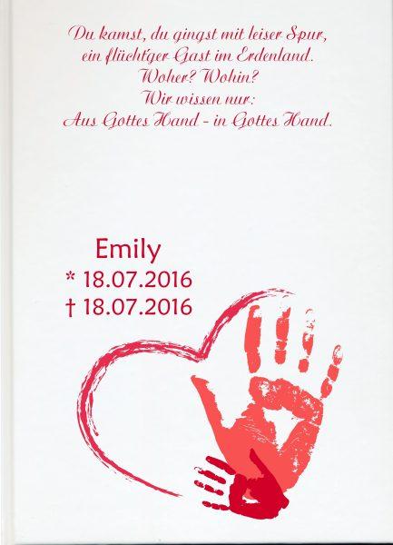 Fotoalbum Sternenkind Handabdruck in rot