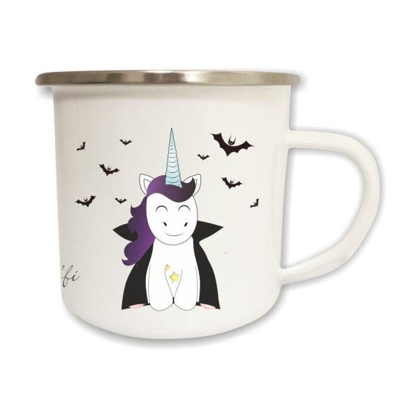 Emailletasse Halloween mit Name und Vampir Einhorn