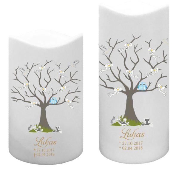 LED Kunststoff Kerze Weiß für Sternenkind Baum mit Schleifen und blaue Eule
