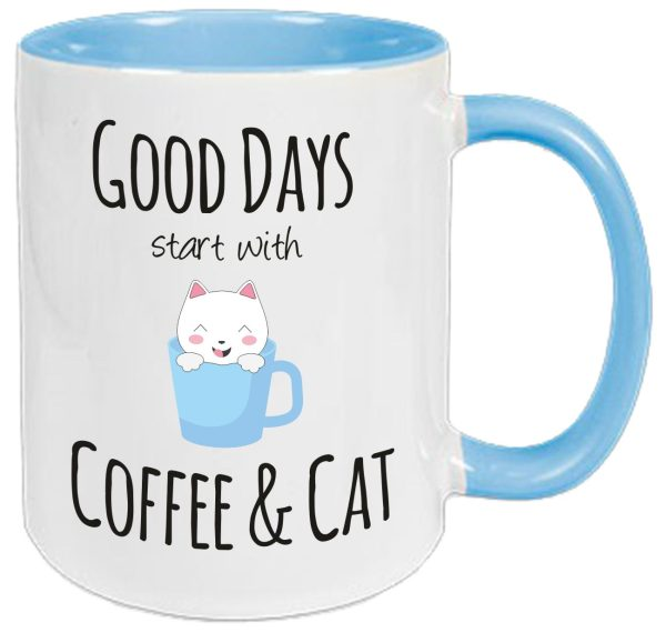 Tasse Hellblau Good Days start with Coffee and Cat
