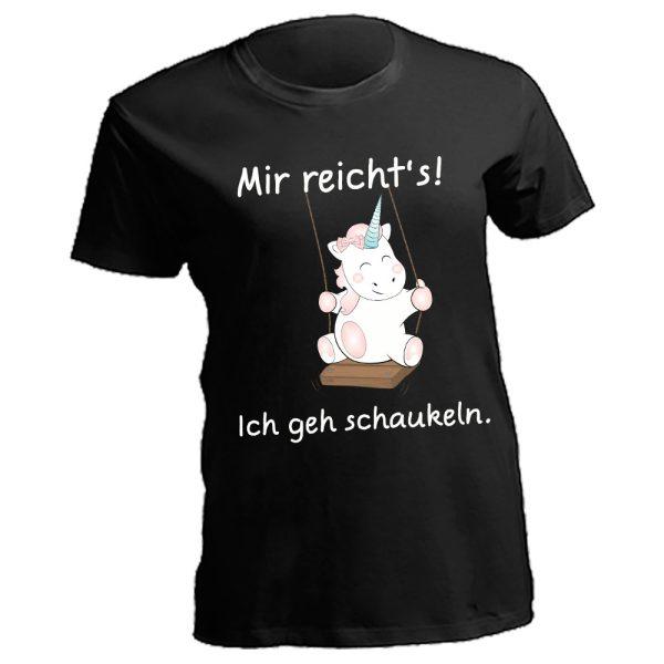 Damen Curves T-Shirt Lady Oversize Plus Size Unicorn Einhorn cutie Mir reicht's, ich geh schaukeln