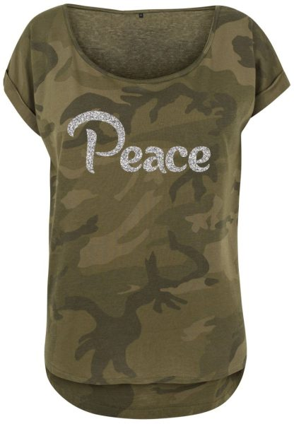 Damen Camouflage T-Shirt Glitzer Peace