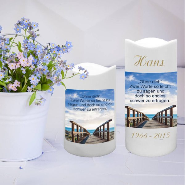 LED Kunststoff Kerze Weiß Trauerkerze Brücke