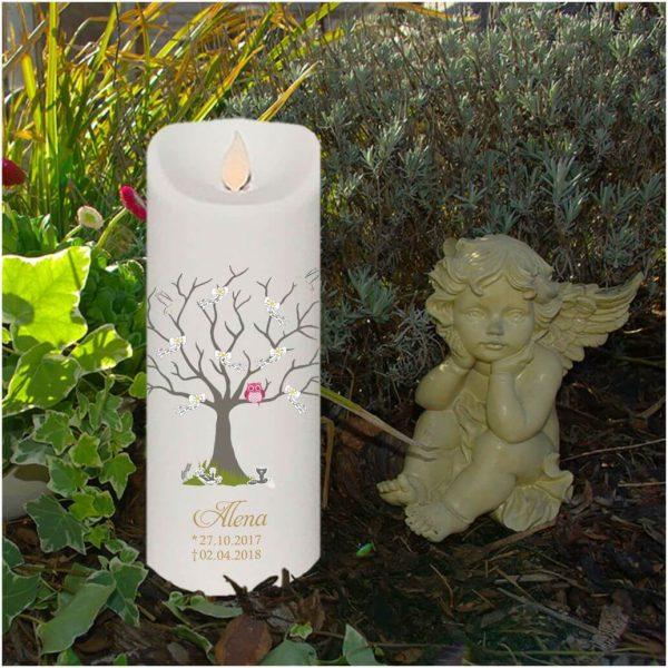 LED Kerze Twinkle Sternenkind Baum mit Schleifen und rosa Eule