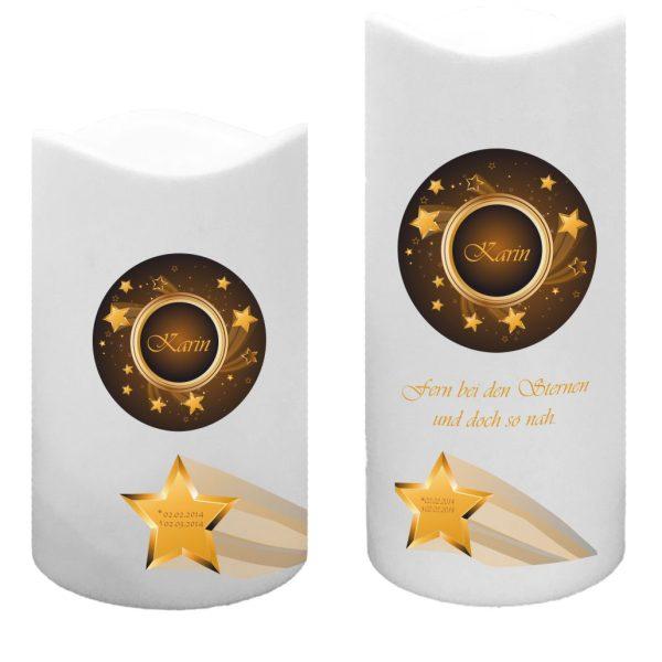 LED Kunststoff Kerze Weiß für Sternenkind Sternschnuppe