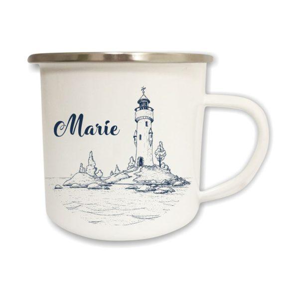 Emailletasse Maritim Leuchtturm mit Name