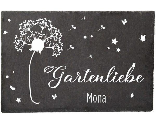 Schieferplatte für den Garten mit Pusteblume