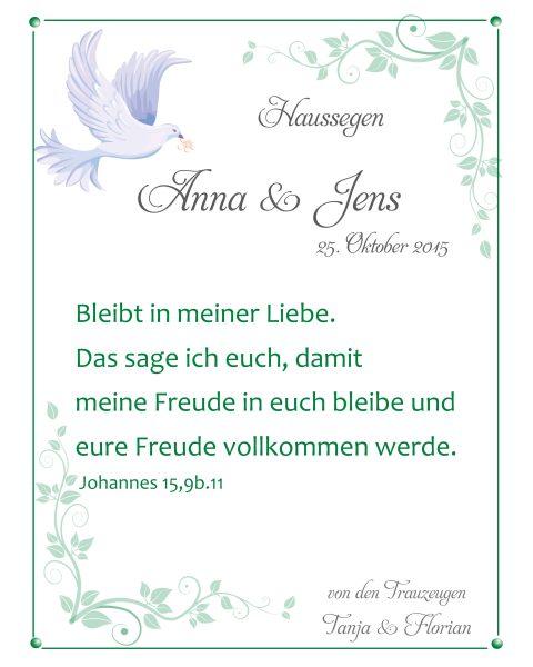 Haussegen zur Hochzeit Geschenk Leinwand 24 x 30 cm Motiv 21