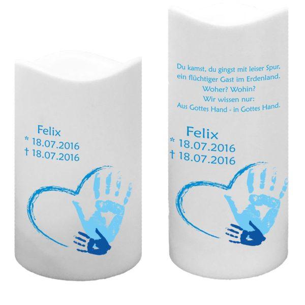 LED Kunststoff Kerze Weiß für Sternenkind Handabdruck in blau