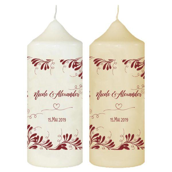 Hochzeitskerze Traukerze mit Namen und Datum Rote Ranken