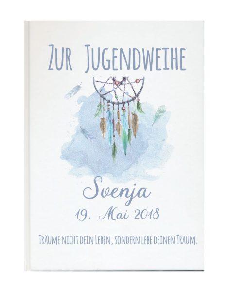 Personalisiertes Gästebuch zur Jugendweihe mit Namen und Datum Traumfänger blau