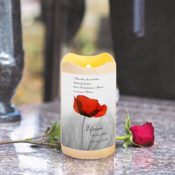 LED Kerze Trauerkerze aus Kunststoff Mohnblume