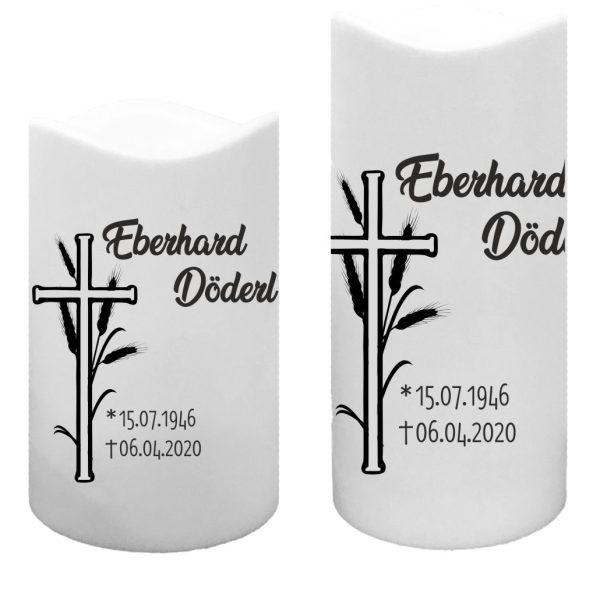LED Kunststoff Kerze Weiß Trauerkerze Kreuz mit Ähre