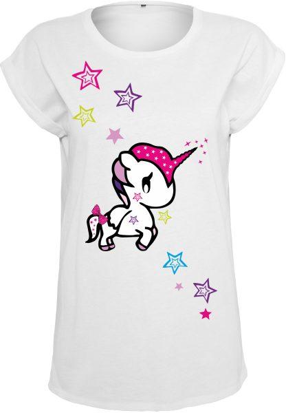 Damen T-Shirt Extended Shoulder Tee Einhorn Funny