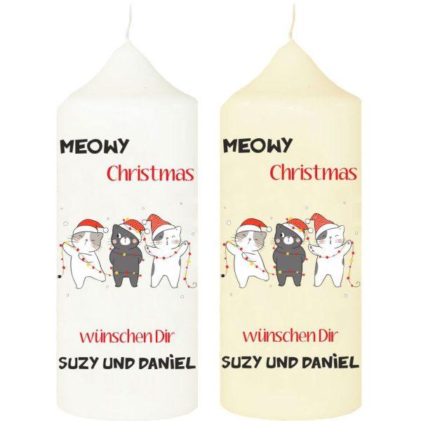 Kerze zu Weihnachten mit Name und Katzen Meowy Christmas