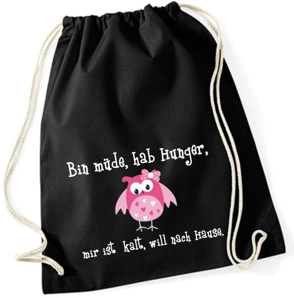 Jutebeutel Turnbeutel Sportbeutel schwarz Bin müde hab hunger
