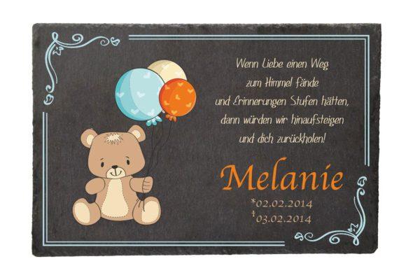 Gedenktafel Sternenkind Bär mit Ballons