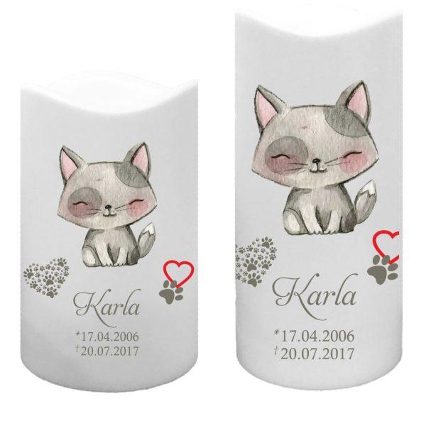 LED Kunststoff Kerze Weiß für Tiere Katze sitzend