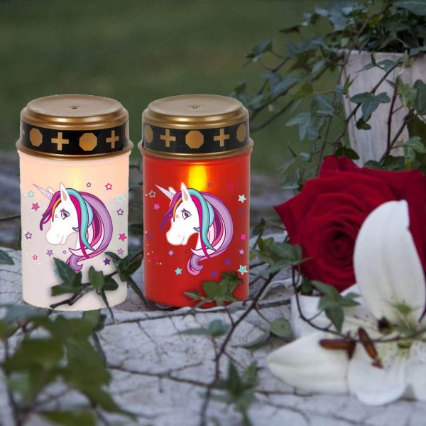 LED Grablicht Kerze Klein Sternenkind Einhorn Beauty