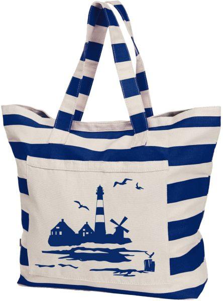 Streifen Shopper Baumwolle Beach Bag Maritim Leuchtturm