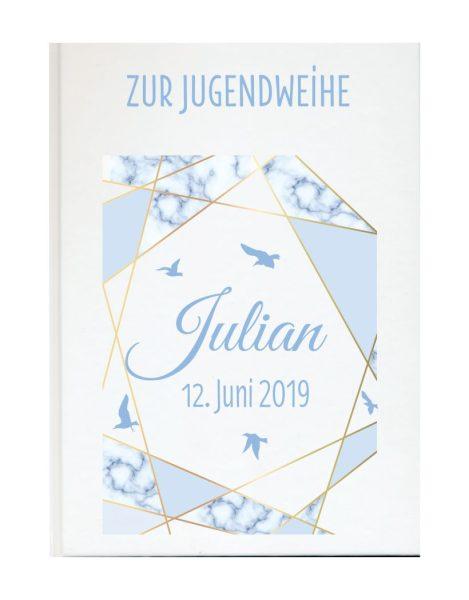 Personalisiertes Gästebuch zur Jugendweihe mit Namen und Datum blau Vögel