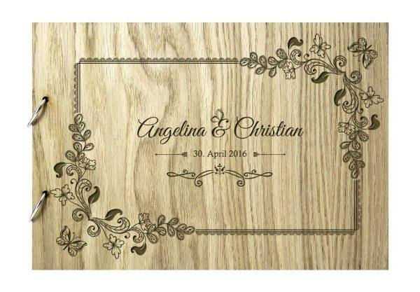 Rustikales Gästebuch aus Holz zur Hochzeit personalisiert Motiv 4