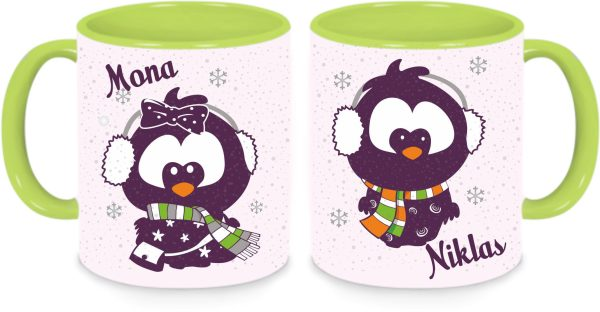 Tassen Twinset grün - Lotta & Emil im Schneegestöber