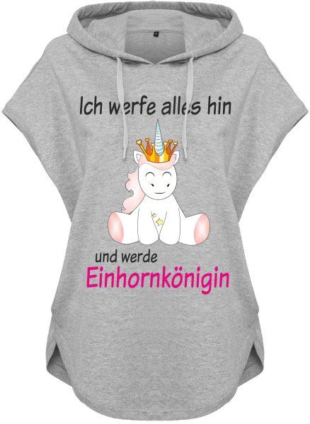 Kawaii Hoodie Kapuzenhoodie für Damen Einhorn Unicorn Ich werfe alles hin und werde Einhornkönigin