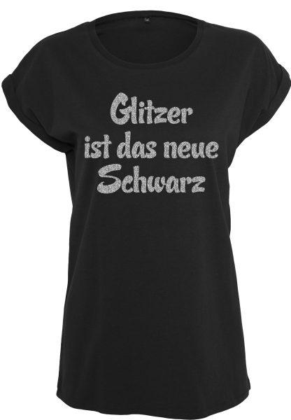 Damen T-Shirt Extended Shoulder Tee Glitzer ist das neue Schwarz