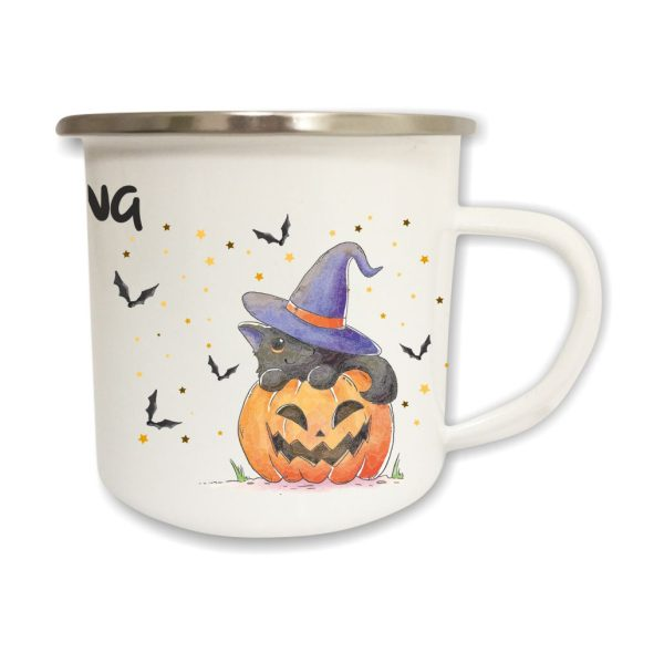 Emailletasse Halloween mit Name und Katze im Kürbis