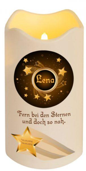 LED Kerze Trauerkerze aus Kunststoff Sternenkind Sternschnuppe