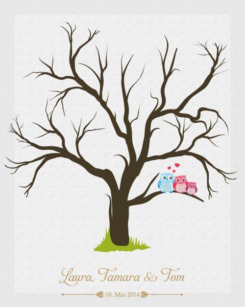 Hochzeitsleinwand Leinwand Fingerabdruckbaum Wedding Tree Taufe Hochzeit Gästebuch - Traufe Mädchen