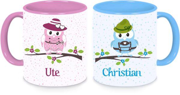 Tassen Twinset in rosa und blau - bayerische Eulen