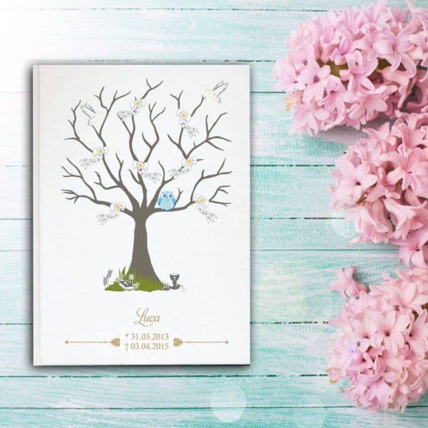 Fotoalbum Sternenkind Baum mit Schleifen und blaue Eule