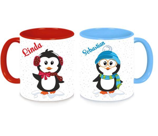 Tassen Twinset in rot und blau mit Name und Pinguin Luise und Ferdinand