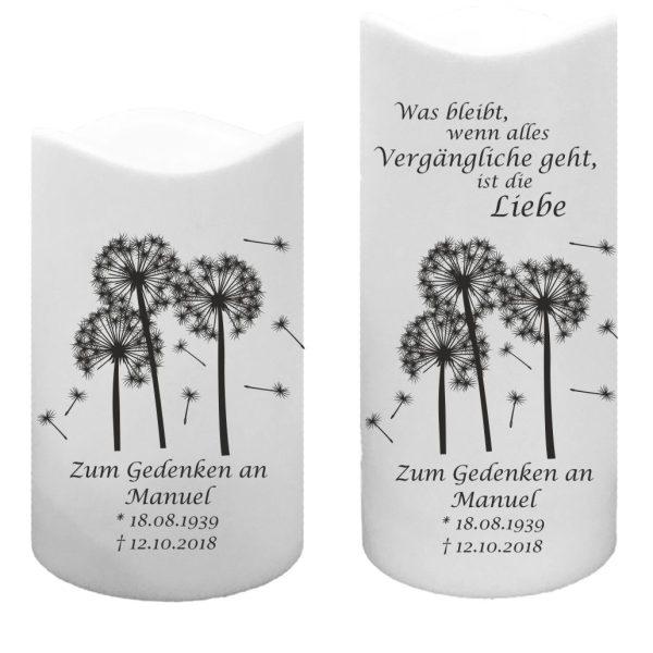 LED Kunststoff Kerze Weiß Trauerkerze Pusteblumen mit Spruch