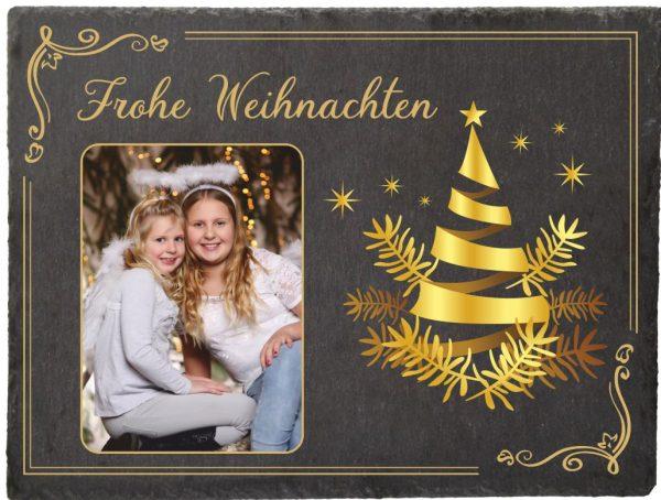 Schieferplatte zu Weihnachten mit Foto