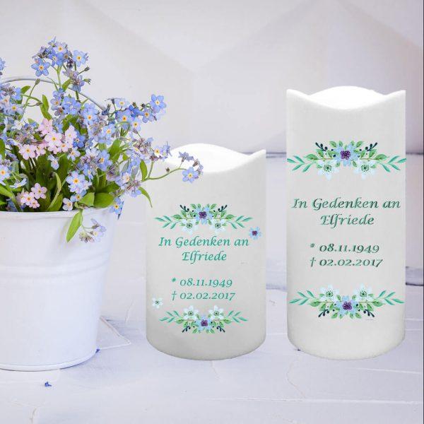LED Kunststoff Kerze Weiß Trauerkerze Watercolor Blumen