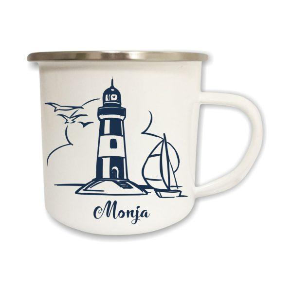 Emailletasse Maritim Leuchtturm mit Boot und Name