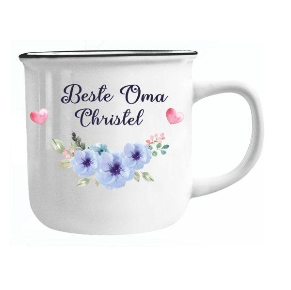 Emailletasse mit Name Beste Oma