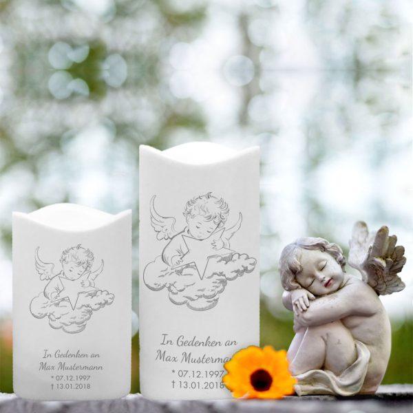 LED Kunststoff Kerze Weiß für Sternenkind Engel mit Wolke und Stern
