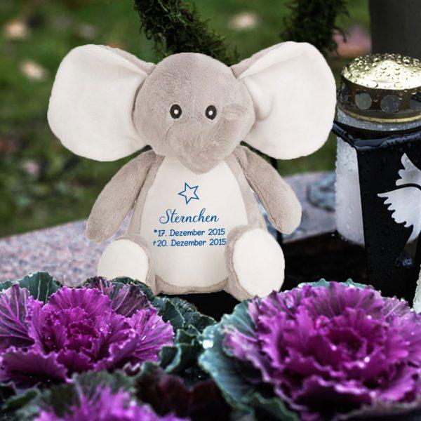 Plüschtier Kuscheltier Elefant für Sternenkind mit Stern