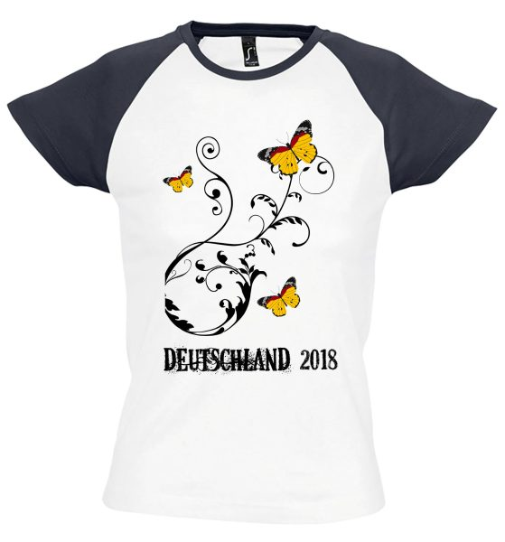 Damen T-Shirt WM 2018 Motiv 5 Schmetterling Ranke